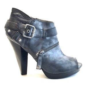 Guess Grey Leather Peep Toe Booties Sz 10